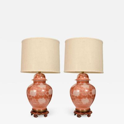 Marbro Lamp Company Marbro Cinnabar Chrysanthemum Porcelain Lamps