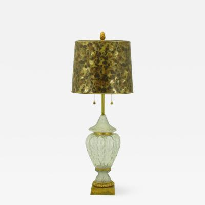 Marbro Lamp Company Marbro Crystal Vase Table Lamp with Brass Trim