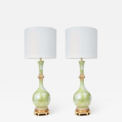 Marbro Lamp Company Marbro Green and White Chrysanthemum Porcelain Lamps