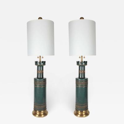 Marbro Lamp Company Marbro Jade Green Ceramic Lamps