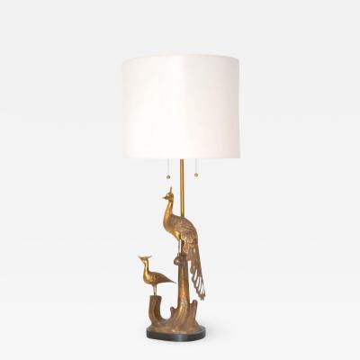 Marbro Lamp Company Mid Century Brass Peacock Form Table Lamp