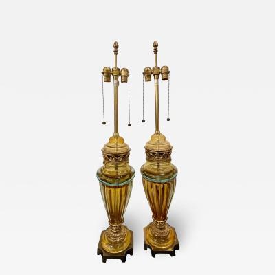 Marbro Lamp Company Mid Century Modern Marbro Murano Italian Art Glass Table Lamps a Pair