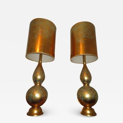 Marbro Lamp Company Monumental Pair of Gold Leaf Gourd Shaped Hollywood Regency Modern Lamps