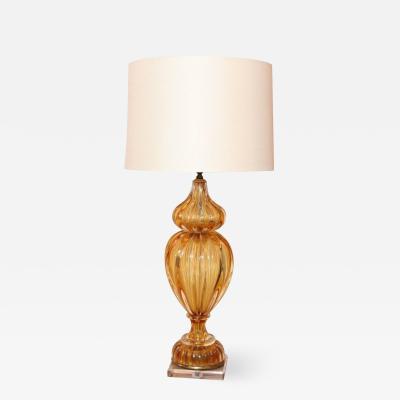 Marbro Lamp Company Murano Amber Color Glass Lamp