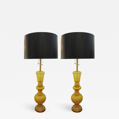 Marbro Lamp Company PAIR OF LARGE YELLOW MARBRO GLASS LAMPS by Marbro