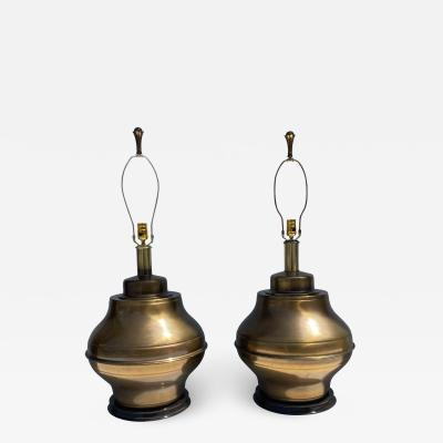 Marbro Lamp Company Pair Giant Brass Ginger Jar Lamps