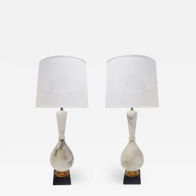 Marbro Lamp Company Pair Of Large Artisan Marble Table Lamps 1950s