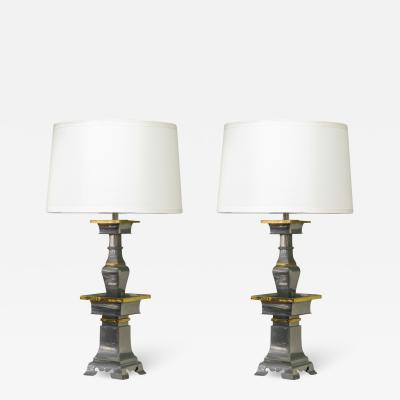 Marbro Lamp Company Pair Of Sculptural Table Lamps In Pewter And Brass 1960s