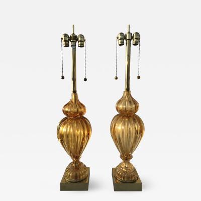 Marbro Lamp Company Pair of Amber Murano Glass Lamps