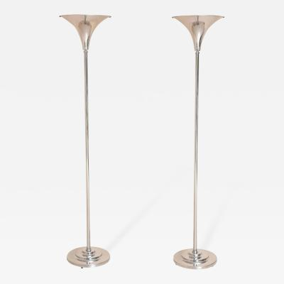 Marbro Lamp Company Pair of American Art Deco Style Nickel Plated Torcheres Marbro Lamp Company