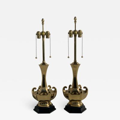 Marbro Lamp Company Pair of Brass Asian Style Lamps