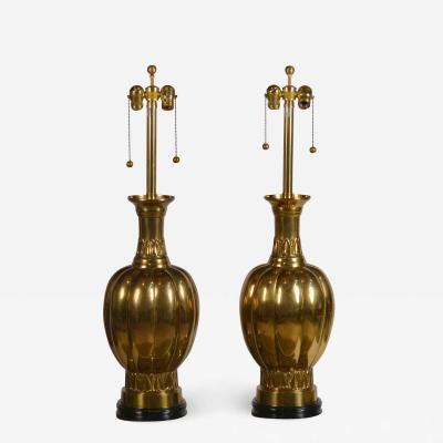 Marbro Lamp Company Pair of Chic Hollywood Regency Marbro Brass Lamps