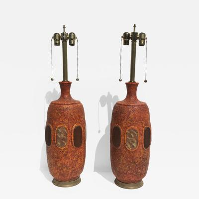 Marbro Lamp Company Pair of Orange Lave Glazed Ceramic Lamps