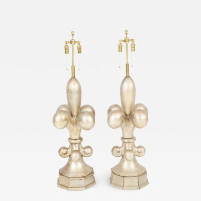 Marbro Lamp Company Pair of Spectacular Fleur de Lis Lamps by Marbro