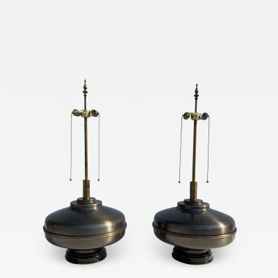 Marbro Lamp Company Pair of X Large Antique Brass Lamps