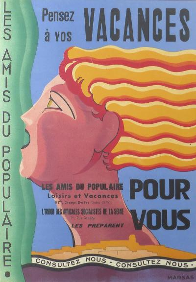 Marcas French Art Deco Vacances Poster by Marsas