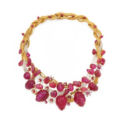 Marchak Carved Ruby Diamond Necklace in 18K Gold by Marchak circa 1940s
