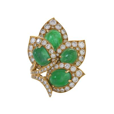 Marchak Gold Ring with Diamonds and Emeralds by Marchak