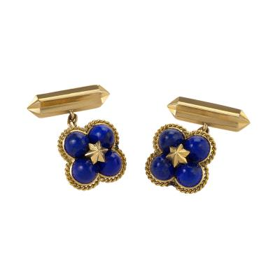 Marchak Marchak Paris Mid 20th Century Lapis Lazuli and Gold Cuff Links