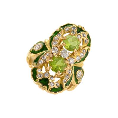 Marcus Co Art Nouveau Peridot Diamond Gold and Enamel Ring