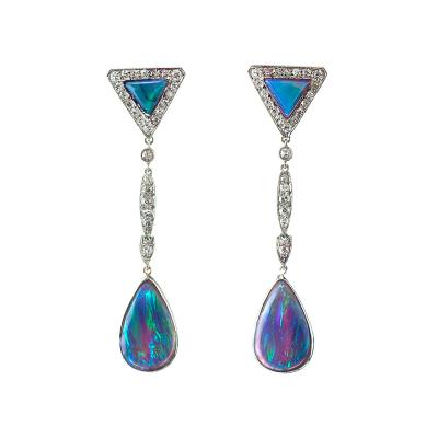 Marcus Co Black Opal and Diamond Earrings by Marcus Co