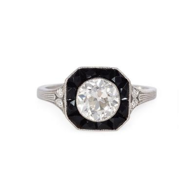 Marcus Co Marcus Co Art Deco Diamond and Calibre Onyx Ring in Platinum