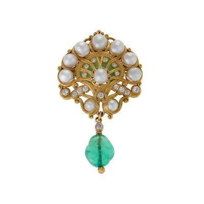 Marcus Co Marcus Co Art Nouveau Pearl Diamond Emerald Brooch