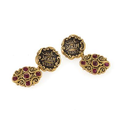Marcus Co Marcus Co Art Nouveau Ruby Enamel and Gold Cuff Links