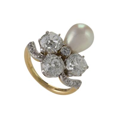 Marcus Co Marcus Co Early 20th Century Diamond Natural Pearl Platinum and Gold Ring