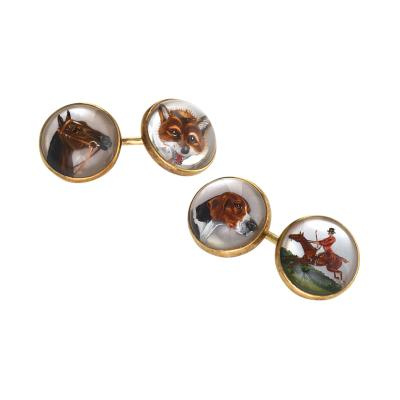 Marcus Co Marcus Co Early 20th Century Essex Crystal and Gold Hunting Cuff Links