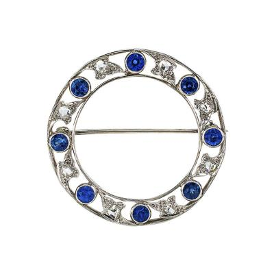 Marcus Co Marcus Co Edwardian Blue Sapphire and Rose Cut Diamond Circle Brooch
