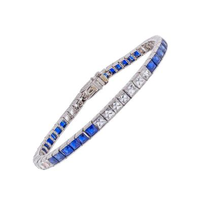Marcus Co Marcus Co Sapphire French Cut Diamond Platinum Bracelet