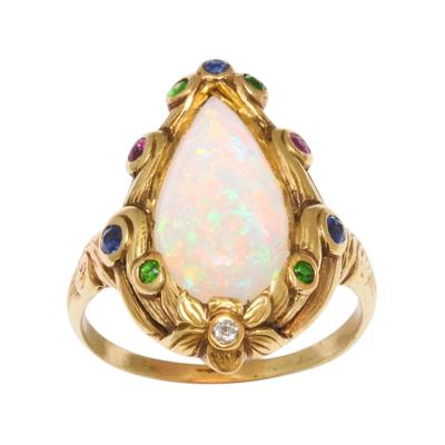 Marcus Co Opal Sapphire Garnet Diamond Ring in 18K Gold by Marcus Co circa 1890
