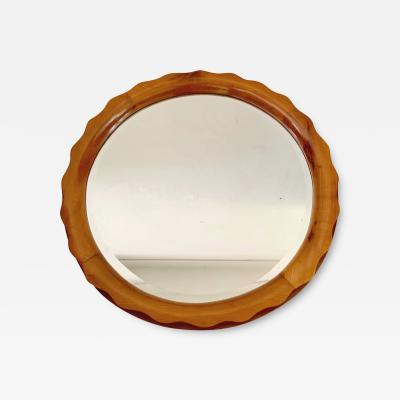 Marelli Cant Round Mirror in Cherry Wood