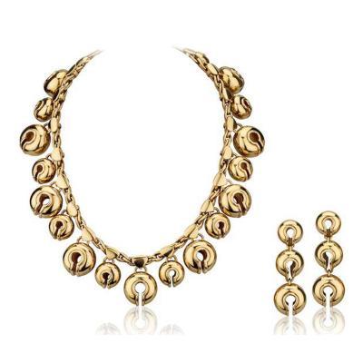 Marina B 1988 Marina B Yellow Gold Necklace and Ear Clips