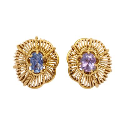 Marsh Co 18k Gold Sapphire Earclips by Marsh Co