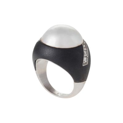 Marsh Co Patinated Steel Palladium Pearl and Diamond Ring by Marsh