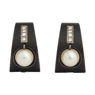 Marsh Co Pearl Diamond Earrings in Stainless Steel by Marsh Co