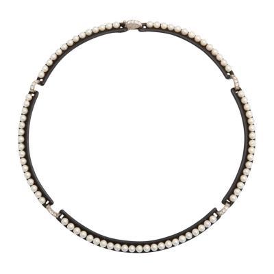 Marsh Co Steel Pearl Diamond Necklace by Marsh