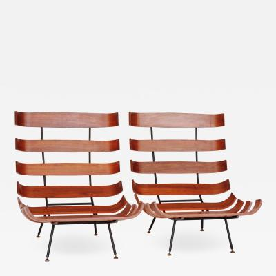Martin Eisler Carlo Hauner Martin Eisler and Carlo Hauner Pair of Lounge Chairs for Forma Italy 1950s