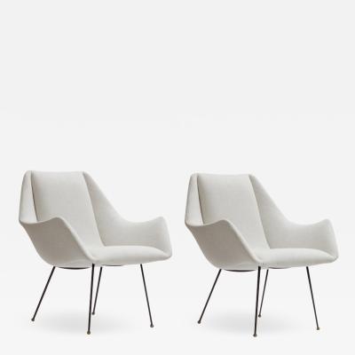 Martin Eisler Carlo Hauner Mid Century Ivory Lounge Chairs by Carlo Hauner Brazil ca 1960