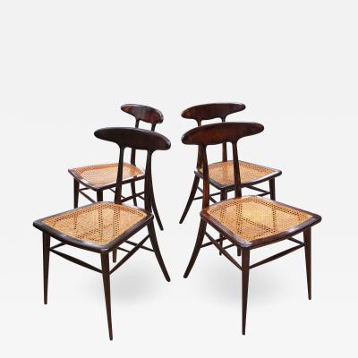 Martin Eisler Carlo Hauner Set of Four Rare Dining Chairs by Martin Eisler and Carlo Hauner for Forma