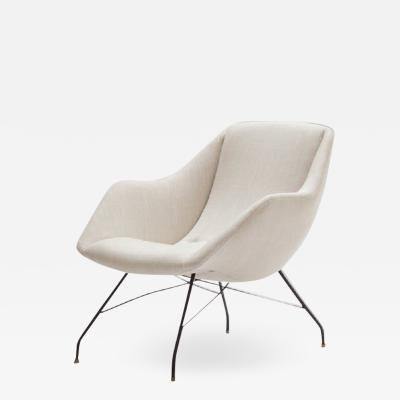 Martin Eisler Carlo Hauner Shell armchair in wrought iron and fabric