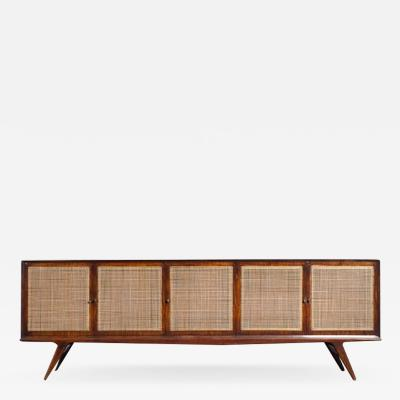 Martin Eisler Carlo Hauner Sideboard in caviuna wood and cane