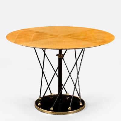 Martin Et Guenier A French Brass Painted and Sycamore Adjustable Round Table
