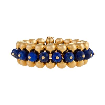 Marzo Marzo Paris Art Deco Lapis Lazuli and Gold Flexible Bracelet