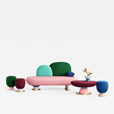 Masquespacio Toadstool Collection Ensemble Sofa Table and Puffs Masquespacio