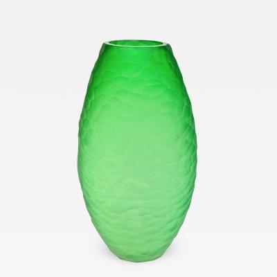 Massimiliano Schiavon Dated 2007 Modern Apple Green Murano Glass Vase Signed Vivarini Schiavon