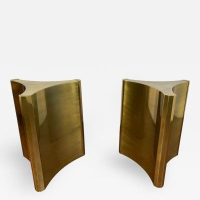 Mastercraft 1970s Mastercraft Brass Dining Table Pedestals a Pair