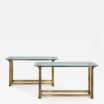 Mastercraft A Rare Pair of Heavy Brass Console Tables by Mastercraft 1970s